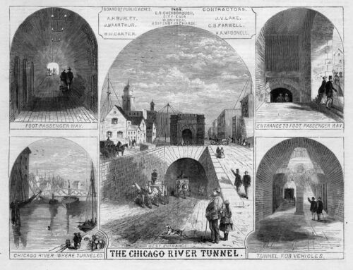 CHICAGO RIVER TUNNEL WEST ENTRANCE BOARD OF PUBLIC WORKS HORSES CARRIAGE HISTORY