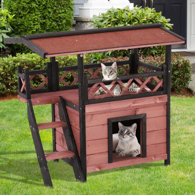 Large Outdoor Wooden Cat House Maisonette Den Indoor Kitten Garden Shelter Pet For Sale Ebay