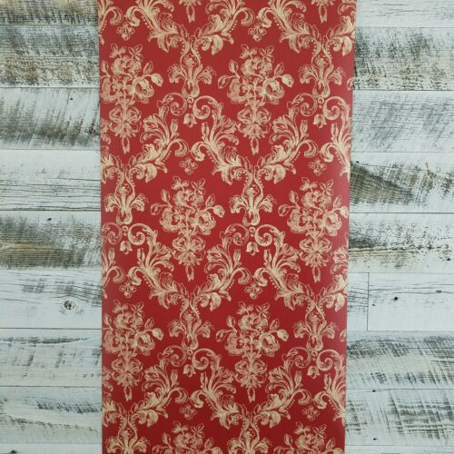 Patton Vintage Victorian Damask Wallpaper Grand Chateau Scroll Black Red Pink