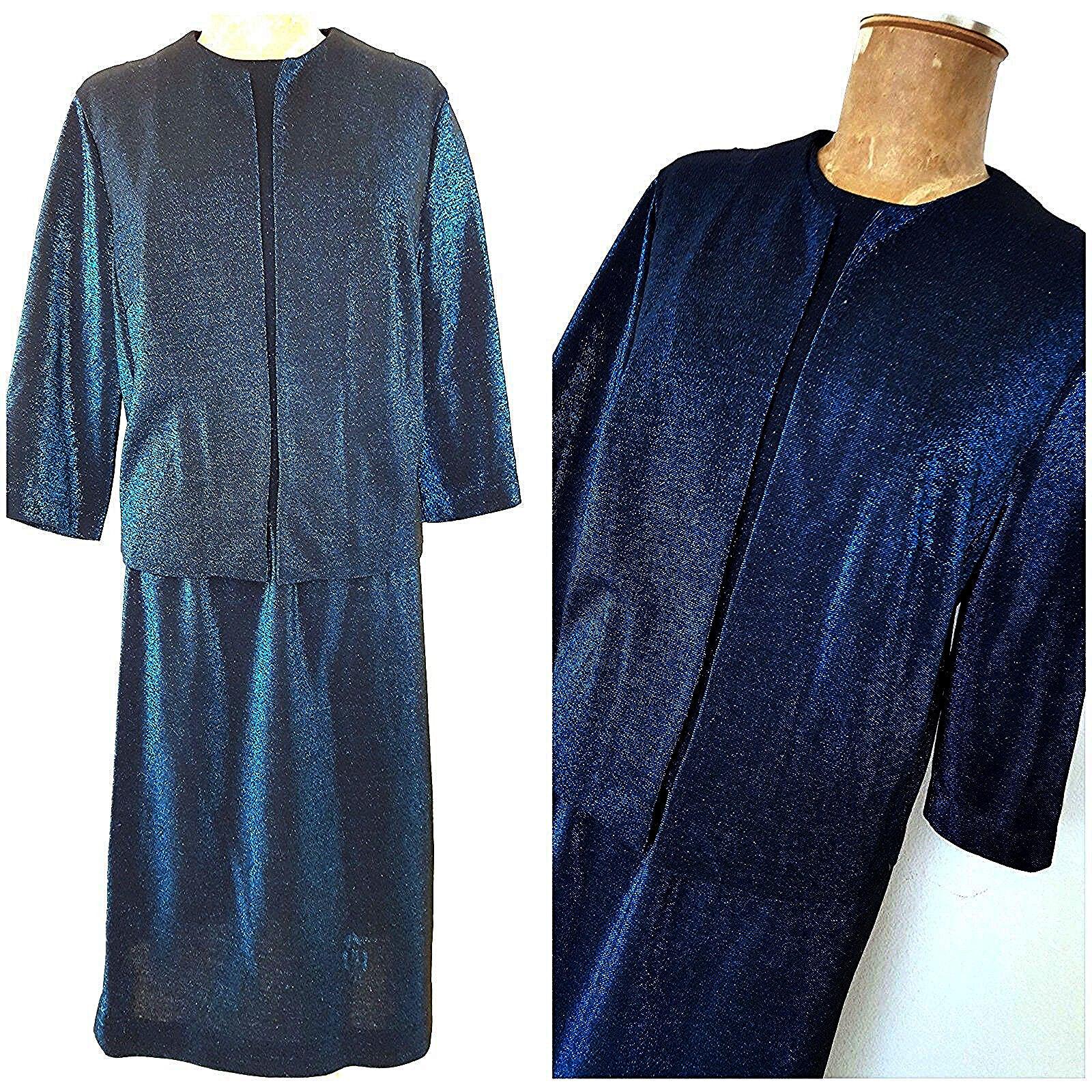Vintage 70s Metallic Skirt Suit Dress Größe XLarge Pencil Blau MOD Business Pinup