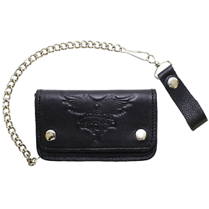 ddb05672ca5 Mens Leather Wallet Chain Bifold Motorcycle ID Card Holder Winged ...
