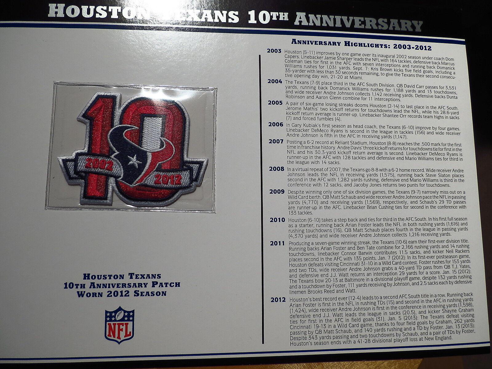 NFL Offizielles Willabee Willabee Willabee & Ward Houston Texans 10th Anniversary Abzeichen Karte  | Online Store  4add6b