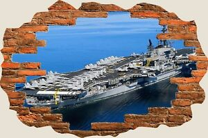 Image Is Loading 3D Hole In Wall Aircraft Carrier View Wall