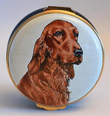 Crummles & Co. English Enamels Setter Dog Trinket Box