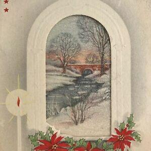 Vintage-Early-Mid-Century-Christmas-Greeting-Card-Window-To-Snowy-Bridge-Stream