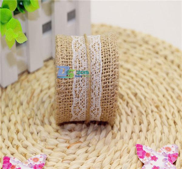 Wedding 2m Burlap Garland Jute Lace Party Natural Hessian Ribbon Rustic Craft