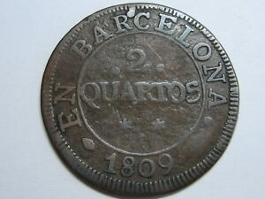 1809 BARCELONA 2 QUARTOS JOSE NAPOLEON SPAIN COPPER SPANISH OVERPRINT