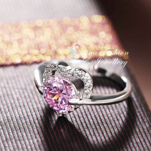 18K White Gold Plated Simulated Diamond Round Cut Exquisite Baby Pink Heart Ring