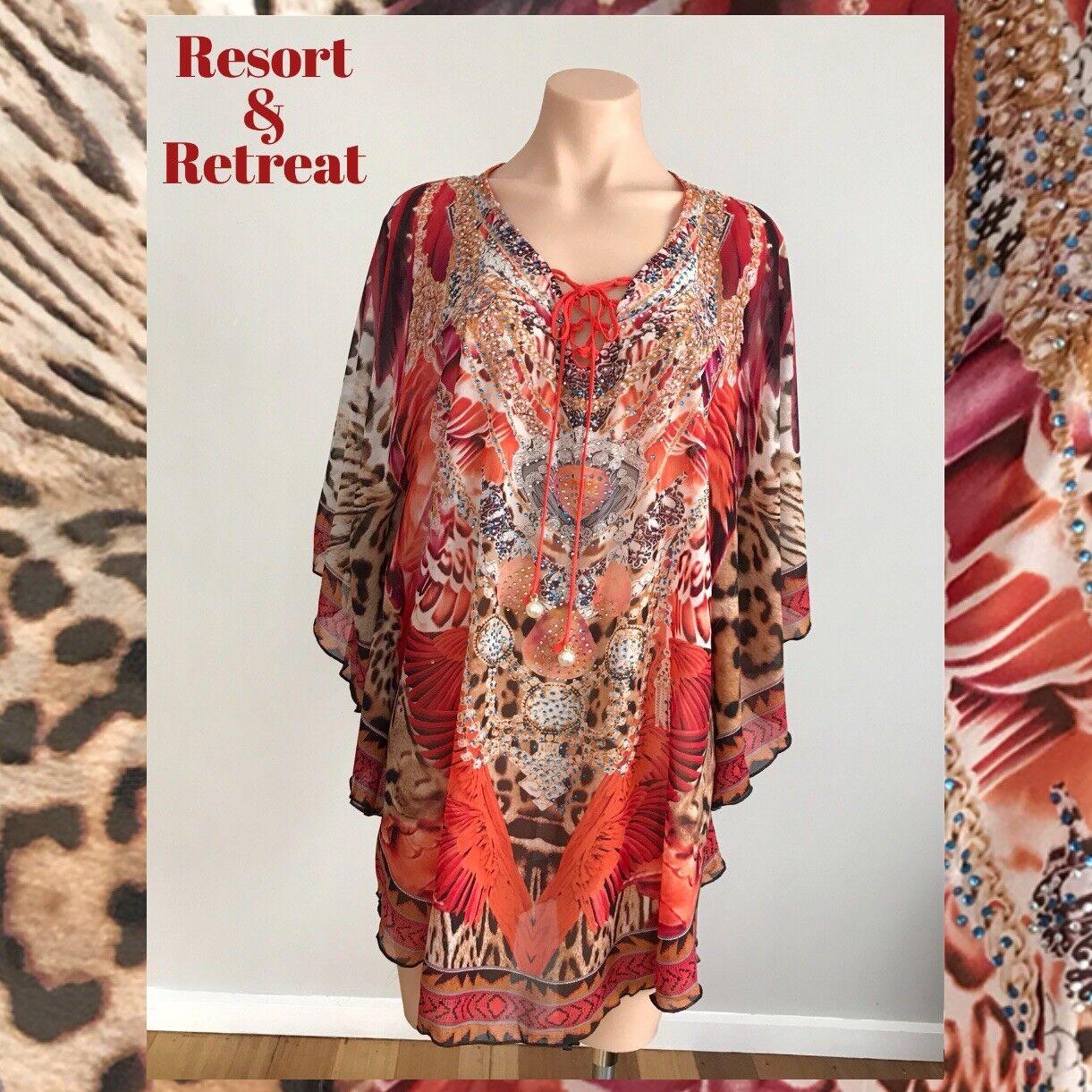Crystal Embellished Kaftan M L 10-18, Resort Wear, Tribal Print