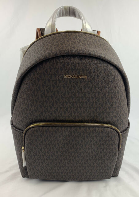 NWT MICHAEL KORS ERIN LARGE BACKPACK PVC LEATHER BROWN (LAPTOP WILL FIT)