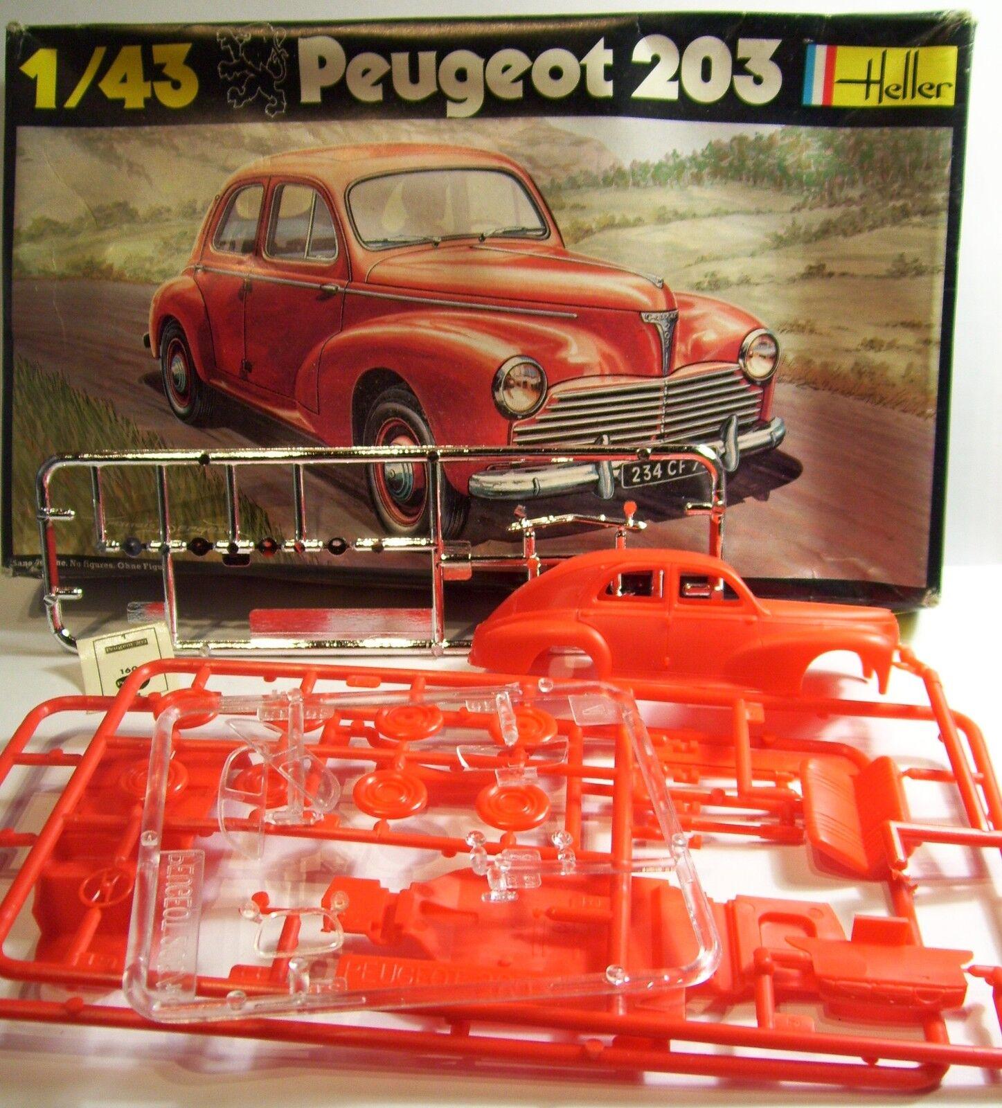 HELLER PEUGEOT 203 MAQUETTE PLASTIQUE KIT COMPLET A MONTER REF 160 1 43 IN BOX