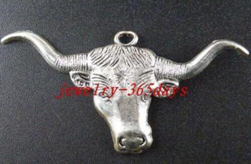 15pcs Tibetan Silver Texas Longhorn steer Charms 61x31mm 5258