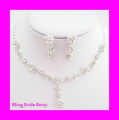 Stunning Y Drop Evening Floral Clear Crystal Bridal Necklace Earring  Rhinestone