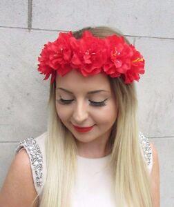 outlet store ec522 b5096 Details zu Rot Pfingstrose Rose Blume Blumengewinde Haar-krone  Festival-boho Kopfbedeckung