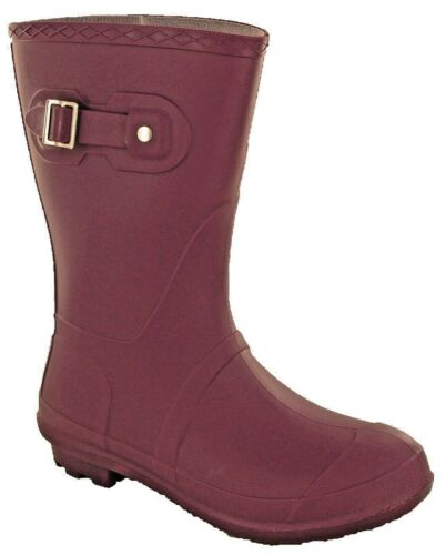 Short Wellingtons 3//4 Calf Womens Lightweight Wellies Buckle Boots Purple UK 3-9