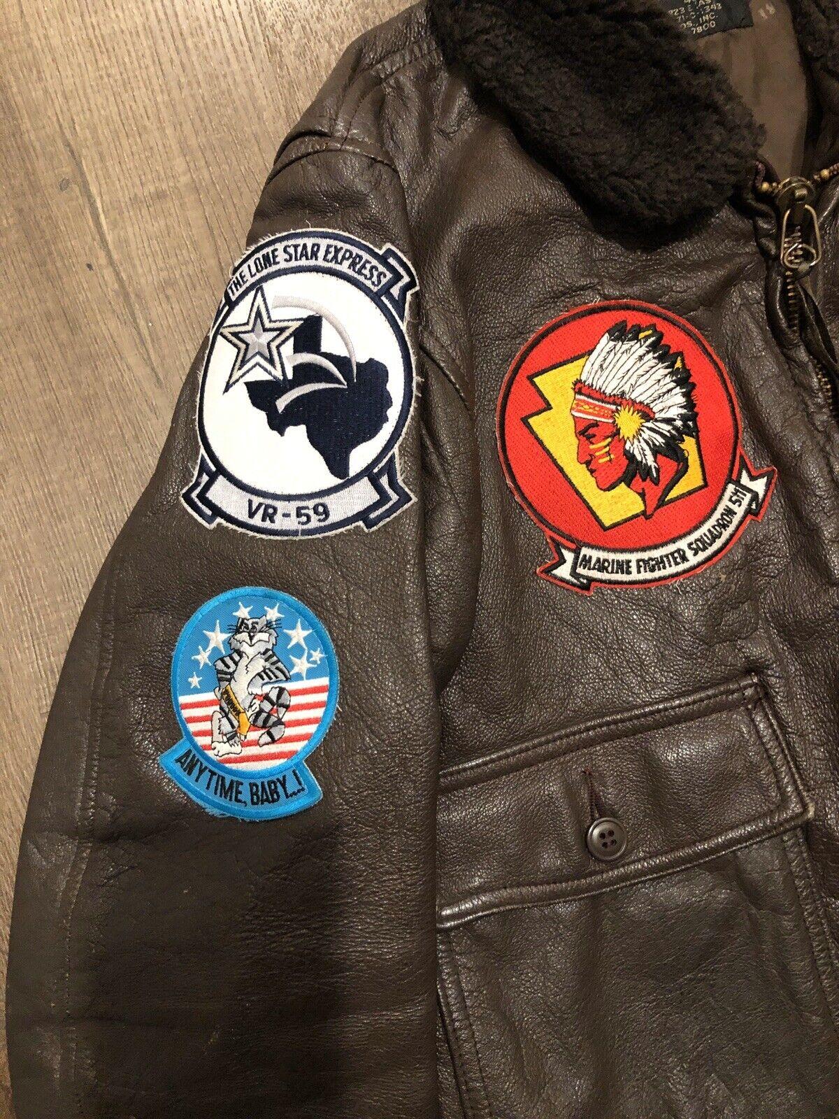 G-1 FLIGHT BOMBER LEATHER JACKET SZ 42 USA USN US… - image 2