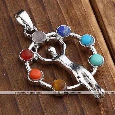 Goddess Inlaid 7 Stone Healing Point Reiki Chakra Gems Pendant For Necklace Gift