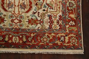 Geometric-All-Over-Ivory-Rust-5-039-x8-039-Heriz-Oriental-Area-Rug-Hand-Knotted-Classic