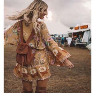 Boho-Gypsy-Floral-Short-Kimono-Vintage-Inspired-Wrap-Top-Robe-Womens