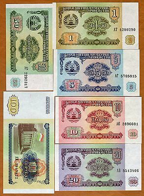 1;5;10;20;50;100 rubles 1994 P-1;2;3;4;5;6 UNC /> First Issue SET Tajikistan