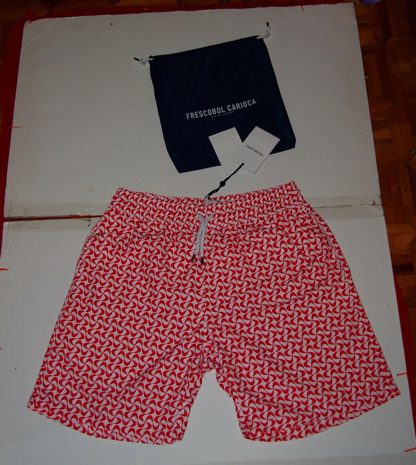 NWT FRESCOBOL CARIOCA mens red white beach swim board shorts 3XL  (M)