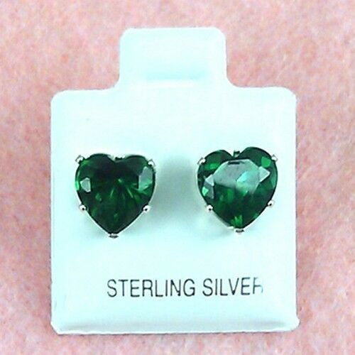 SE339 8mm Heart CZ Simulated Emerald Earrings Sterling Silver