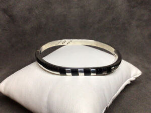 VTG-Taxco-925-Sterling-Silver-5mm-Black-Onyx-Oval-Hinged-Bangle-Bracelet-7-29g