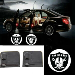 2Pcs Car Door Courtesy Light Logo Projector Shadow Ghost Light Lamp Fit for All Vehicles For Oakland Raiders Car Door LED Welcome Light