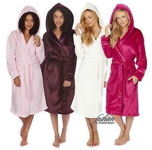 Luxury Womens Hooded Soft Fleece 3 4 Length Bath Dressing Gown ... 9d5561880