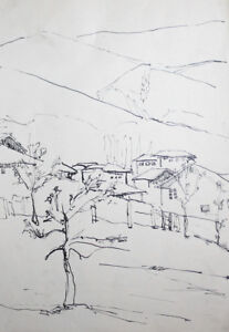 mountain drawing ink