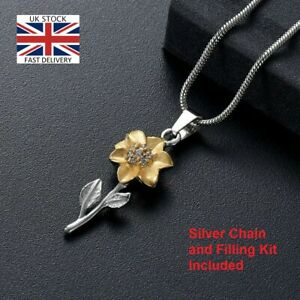 Sunflower-Keepsake-Cremation-Urn-Pendant-Ashes-Necklace-Funeral-Memorial-UK