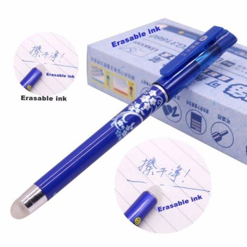 12Pcs Stationery Magic Pen  0.5 MM Erasable Gel Pen Tip Blue Refill Writing Pen