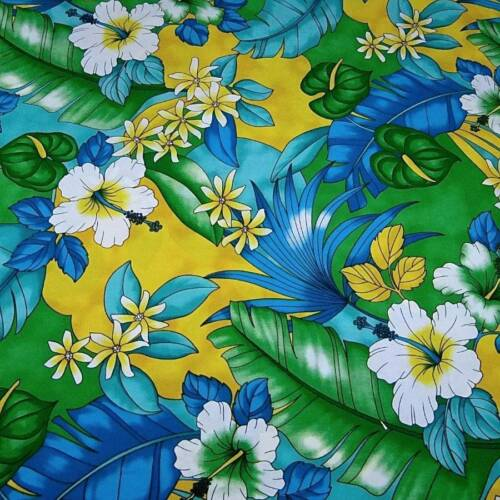Hawaiian Print Kokio /& Antherium Pua Green Blue Yellow Cotton Fabric by Trendtex