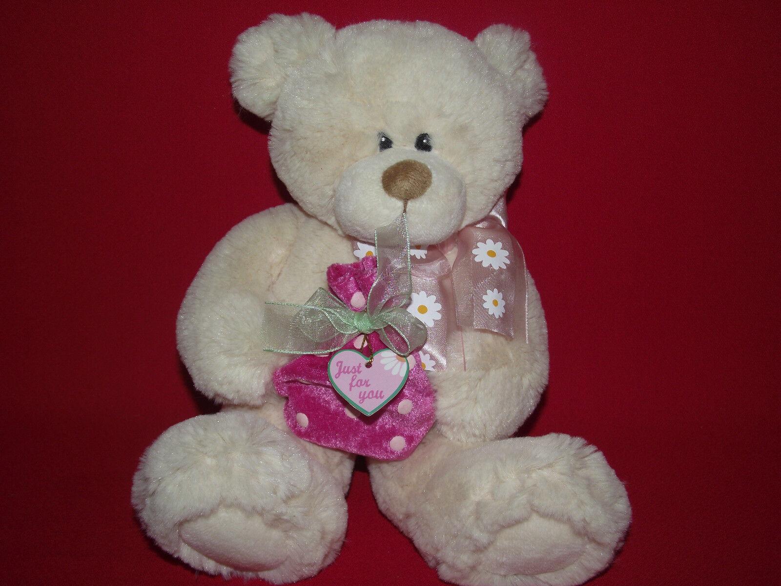 First & Main Teddy Bear Bear Bear Plush Holds Pink Bag