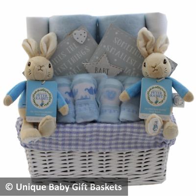 Baby gift basket//hamper Peter Rabbit keepsake capsule boy baby shower nappy cake