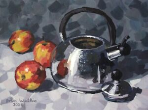 Original-Still-Life-Painting-034-Kettle-and-Three-Apples-034-9x12-inch-by-John-Wallie