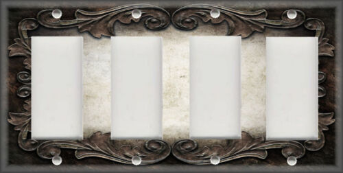 Metal Light Switch Plate Cover Victorian Gothic Decor Ornate Frame Dark Brown