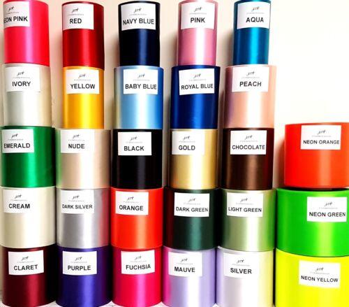 "100 mm extra large en satin avec nœud de ruban mariage ruban Chaise Noeuds 27 couleurs. 4/"" 0"