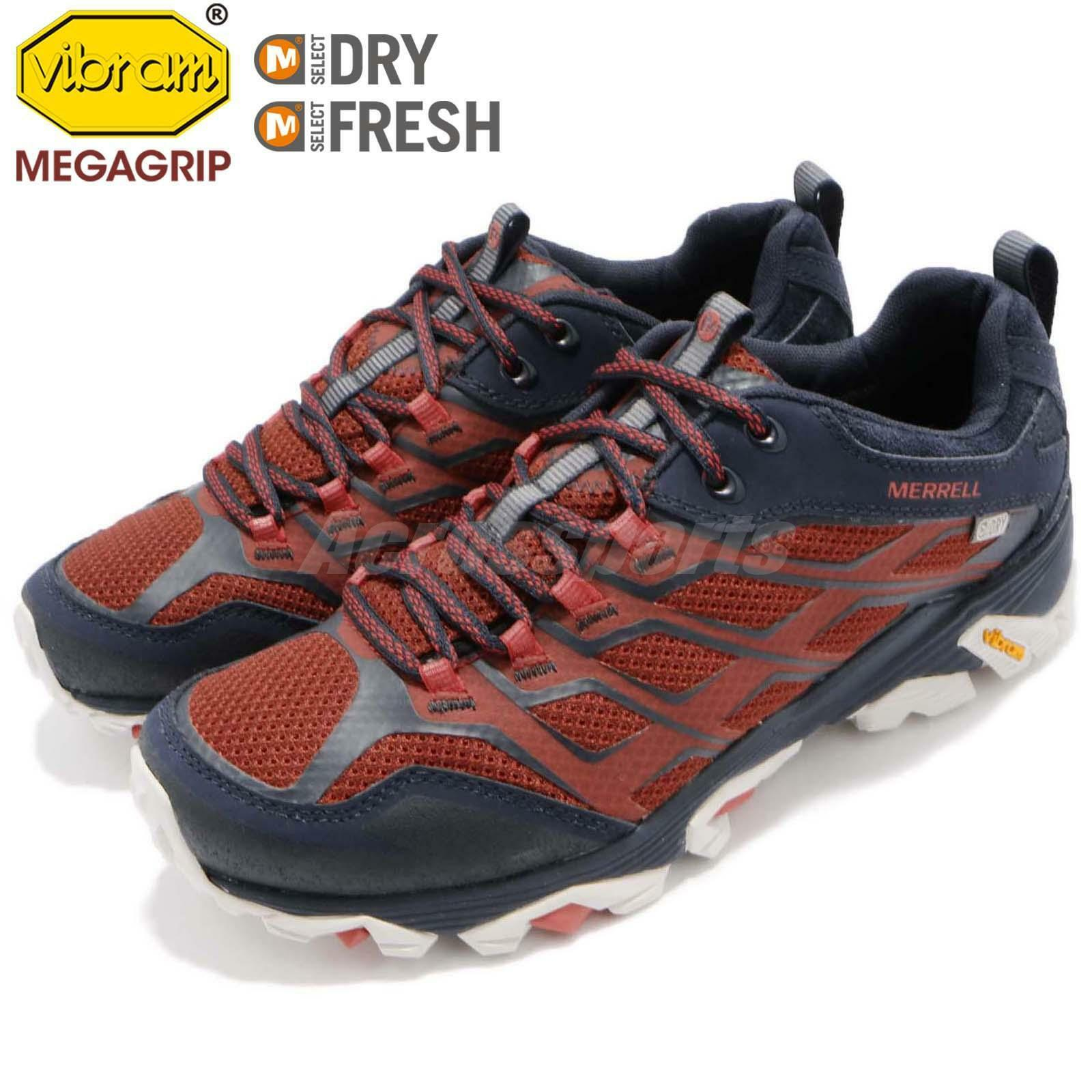 Merrell Moab FST Waterproof Navy Vibram Navy Waterproof Dark Red Uomo Outdoors Scarpe J37761 4490eb