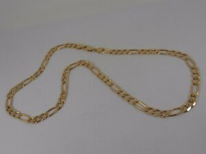 9ct-YELLOW-GOLD-FIGARO-NECK-CHAIN-NECKLACE-20-034-LONG-CURB-FIGARO