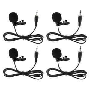 4 Pcs Mini Lavalier-mikrofon Mic Für Vloggers 3,5mm Krawatte Clip Stil Schwarz