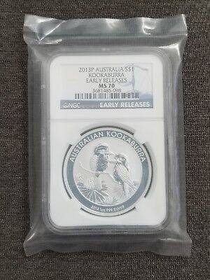 2013 Australia Map Series 1oz Silver Platypus NGC MS70 Early Releases Flag Label