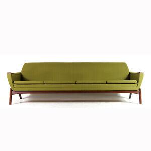 Retro-Vintage-Danish-Modern-Teak-Fabric-4-Seat-Seater-Sofa-Scandinavian-60s-70s