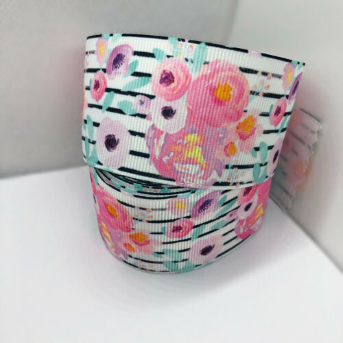 1 Yard Striped Spring Floral Print Grosgrain Ribbon Cake Craft Bow Wide 38mm UK