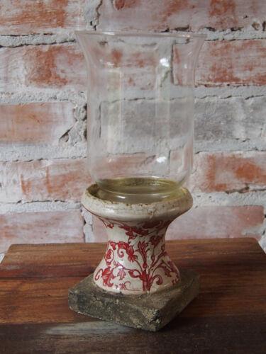 Windlicht von Esschert Desing Aged Keramik rot//weiß Keramik und Glas