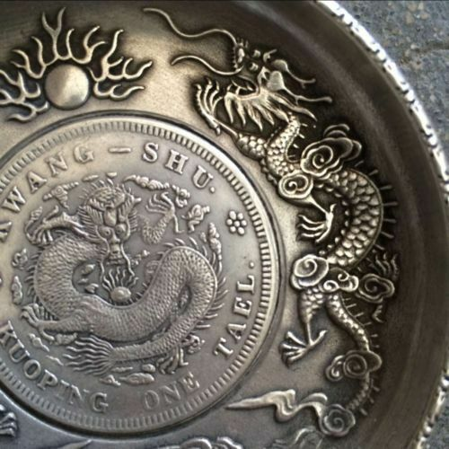 antique Tasted silver gilding in ancient China dragon playing bead plate