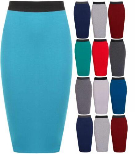New Womens Plain Bodycon Pencil High Waisted Ladies Stretch Midi Skirt-lng wigl