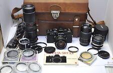 Black Minolta SRT101 35mm SLR Camera w/ 50mm f/1.4 Lens +4 Lenses Filters Manual