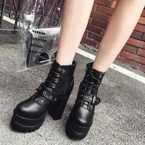 Womens-Fashion-Punk-Buckle-Strap-Gothic-Block-High-Heels-Platform-Ankle-Boots