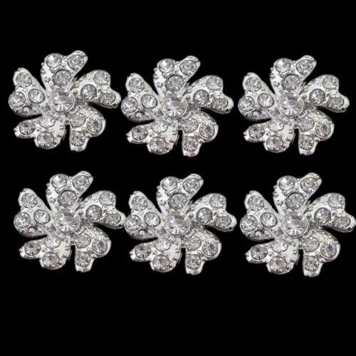 20 Pcs Silver Rhinestone Flower Shank Buttons Embellishment DIY Sewing Craft